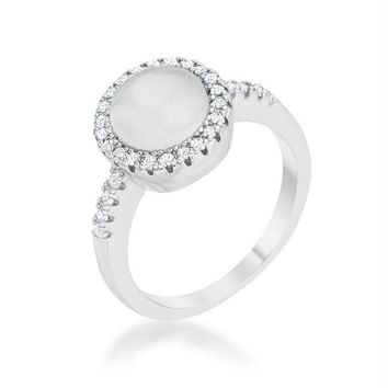 Patricia 0.3ct CZ White Cat's Eye Rhodium Classic Ring, Size 5