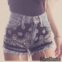 Vintage high waist or Low rise black bandana shorts with chain