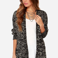 Volcom Mix Tape Black and Cream Cardigan Sweater