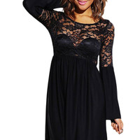 Black Sheer Lace Bell Sleeve Retro Party Skater Dress