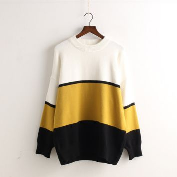 Contrast Color Pullover Knit Scoop Fashion Sweater