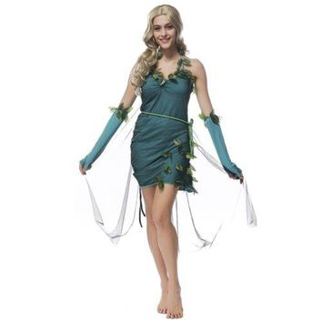 Green Beautiful Elf Costume Forest Tree Goddes Halloween