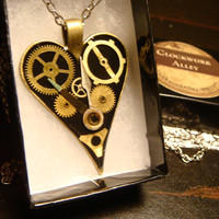 Clockwork Heart Steampunk Necklace-  Made with Upcycled  Gears and Watch Hands (1803)