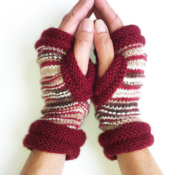 Handknit Fingerless Mittens, Fall Winter Fingerless Gloves, Texting Mittens, Washable Wool, Driving gloves, OOAK,