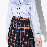 Buckle Plaid Midi Pleated Skirt