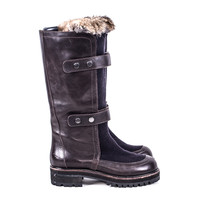 Brown Leather Boots with Fur size:8.5