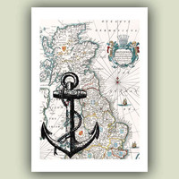 Ocean Anchor Print,  on old Britannia map,  Marine and  Nautical art,  Coastal  seashore Print,  vintage map and illustration, Print 5x7