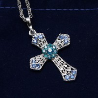 Fashion Crystals Cross Necklace & Pendants Made with Crystals Necklace for Women Jewelry