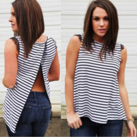 Slit Back Split Eyelash Lace Patchwork  Striped T-Shirt B0015070