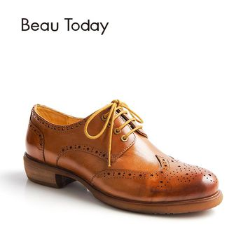 BeauToday Brogue Shoes Women Genuine Cow Leather Casual Dress Lace-Up Retro Wingtip Flats Round Toe Lady Shoes Handmade 21034
