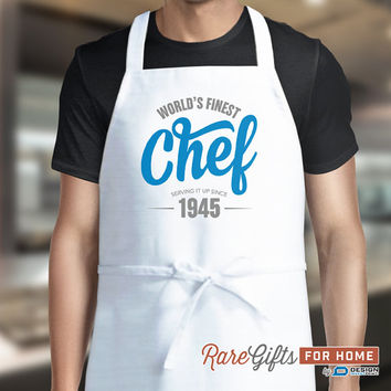 70th Birthday, 70th Birthday Gift, 1945 Birthday Gift, Mens Custom Apron, Cooking Gift, 70th Birthday Present, Look Good In The Kitchen!