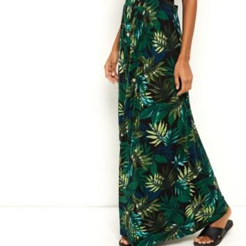 Dark Green Jersey Palm Tree Print Maxi Skirt
