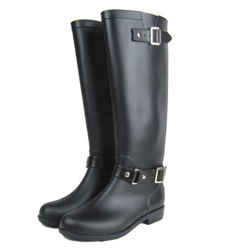 knee high wellies rain boots with zipper woman galoshes outdoor rubber water shoes female footwear plus size cargador de lluvia
