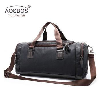 ICIK7N3 Aosbos New PU Leather Gym Bag Training Sports Bag for Women Men Fitness Bags Outdoor Shoulder Traveling Storage Duffel Handbags