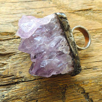 DRUZY, huge amethyst, Statement Ring, Stone Ring, raw, big, magical ring, purple stone, purple ring