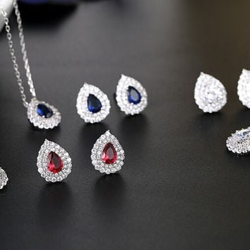 cubic zircon Tear shape classic  jewelry set