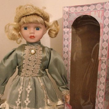 "Jeanne, Blond Porcelain Doll, 16"" Vintage Limited Edition Victorian Rose Collection, Green Dress with Stand."