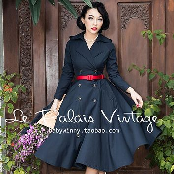 women le palais vintage 50s black long sleeve double breasted swing ladies trench coat plus size abrigos mujer elegant coats