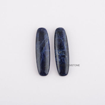 Sodalite Gemstone Long Rectangle 10x35 mm-Loose Gemstone-Calibrated Cabochon-Making Jewelry - Pair