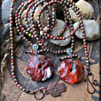 CARNELIAN~Large Gemstone Beaded Wrap~Czech Glass Beads~Copper HAMSA~Copper Beads~ Multi-Wrap Jewelry~Mdogstudios~