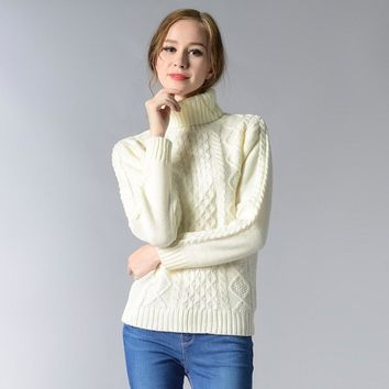 Women Sweaters Warm Pullover Turtneck Mohair Pullover Twist Pull Jumpers Hand Knitted Sweaters Women
