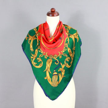 Stunning Vintage Silk Scarf Carré by Renato Balestra - Emerald Green - Gold - Red - Luxury Silk - Italy XXL X-Large