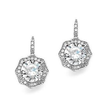 Art Deco 3.2CT Round Cut Hexagonal Halo Dangle Cubic Zirconia Earrings