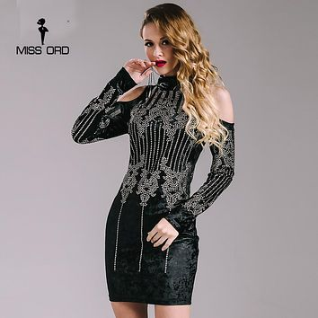 Sexy Geometric retro Rhinestone high-necked long-sleeved bodycon tight dress velvet party dress