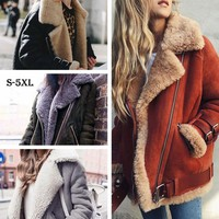 HEE GRAND Winter Jackets Women Loose Flocking Warm Thick Coat Women Casual Suede Woman Parkas Velvet Cotton Outerwears WWJ930