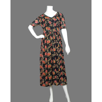 Vintage 90s Dress - Black Floral Dress - Grunge Maxi Dress - Chiffon Dress - Short Sleeve Button Pleated Dress - Long Dress - ON SALE