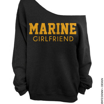 Marine Girlfriend - Black with Gold Slouchy Oversized Sweatshirt