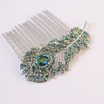 Teal Blue Peacock Feather Hair Comb Wedding Bridesmaid Accessory. Crystal Comb Wedding Jewelry