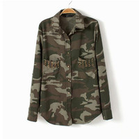 Rivet Decorated Pocket Camouflage Convertible Collar Long Sleeve Blouse