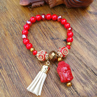 Tassel Collection- White Leather Tassel/Red Gold Tone Buddha Beaded Hand Made Bracelet