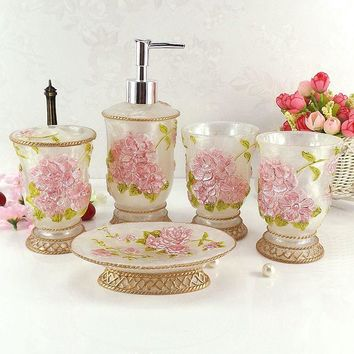 Resin bathroom set five pieces set of bathroom supplies kit wedding gift toiletries Soap dish Toothbrush holder