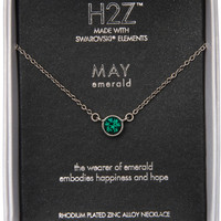 Liza Birthstone May Emerald Crystal Pendant Necklace