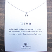 dogeared wish teeny wishbone necklace in sterling silver