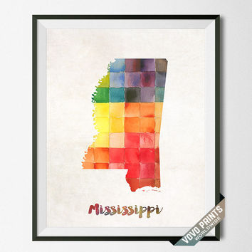 Mississippi, Map, Print, Jackson, USA, Poster, Watercolor, Painting, Home Town, Dorm, Art, States, America, Wall Decor, Watercolour [NO 24]