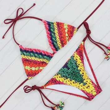 Rainbow Crochet Teeny Tiny Brazilian Low Waist Bottom Two Piece Bikini Set