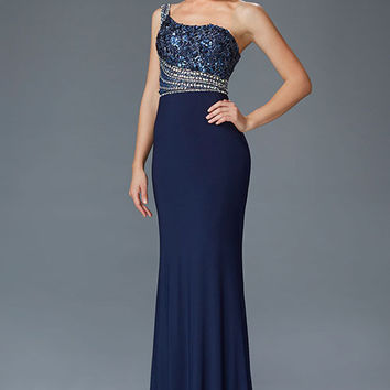 G2086 One Shoulder Beaded Jersey Prom Dress Evening Gown