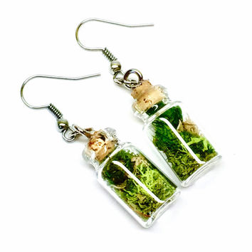 Terrarium Earrings, Moss Jewelry, Glass Bottle Earrings, Botanical Jewelry, Woodland Earrings, Preserved Plant, Boho Earring, Gift for Her C