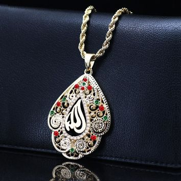 Colorful Crystal Moroccan Allah Necklace