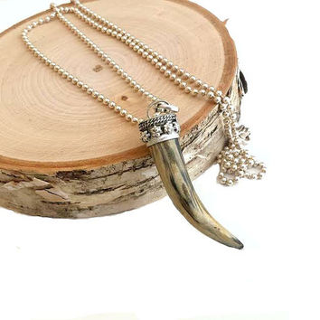 Natural Bone Tusk Necklace Long Beaded Sterling Silver Chain Tibetan Silver Horn Pendant 30""