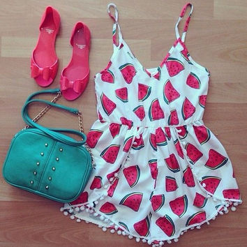 Cute Fashion Watermelon Print Jumpsuit Rompers