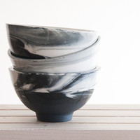 Hand Made Black and White Marble Bowl