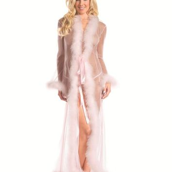 Bewicked Female Sheer Full-Length Robe With Chandelle Feather Trim. BW1650CP