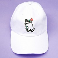 Praying Hands With Rose Cap | White