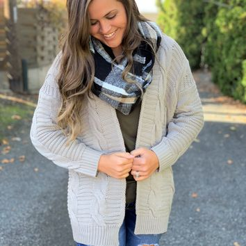 Oatmeal Chunky Cable Cardigan