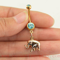 Elephant Belly Button jewelry,gold Navel Jewelry,gold elephant belly button ring,friendship gift,piercing jewelry