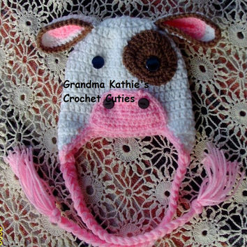 Crochet Cow Baby Hat Photo Prop Christmas Gift Halloween Costume From Baby to Children Sizes